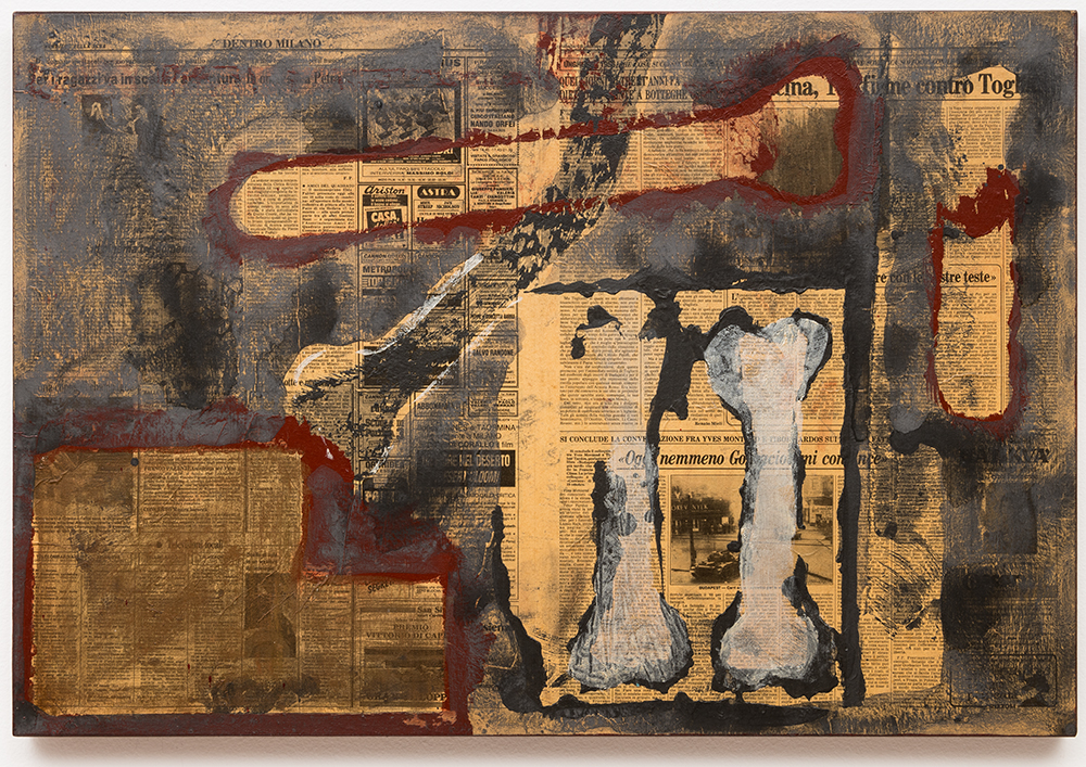 "Dois ossos  |  Two Bones,  1986, técnica mista sobre tela |  mixed media on canvas , 52 x 82 cm |  20 1/2 x 32 1/4"""