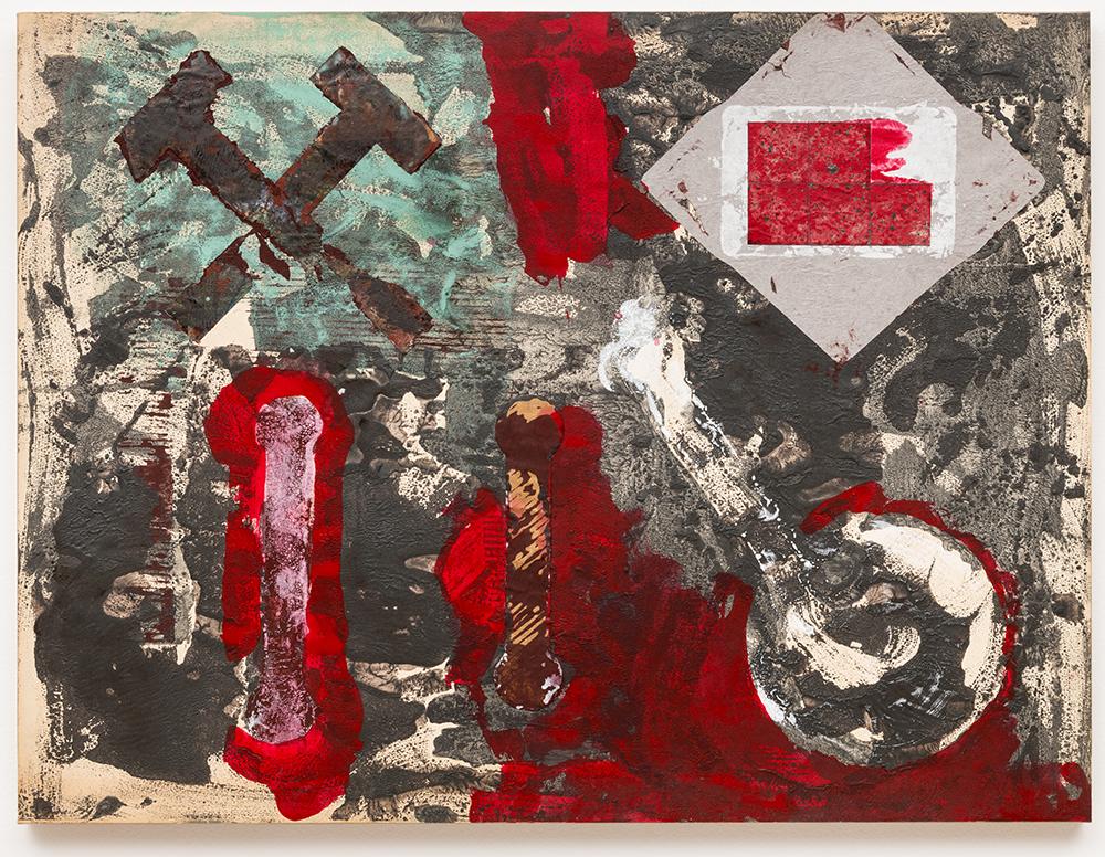 "Labor Berlin,  1989, técnica mista sobre tela | m ixed media on canvas,  60 x 85 cm [ 2 3 5/8 x 33 7/16"""