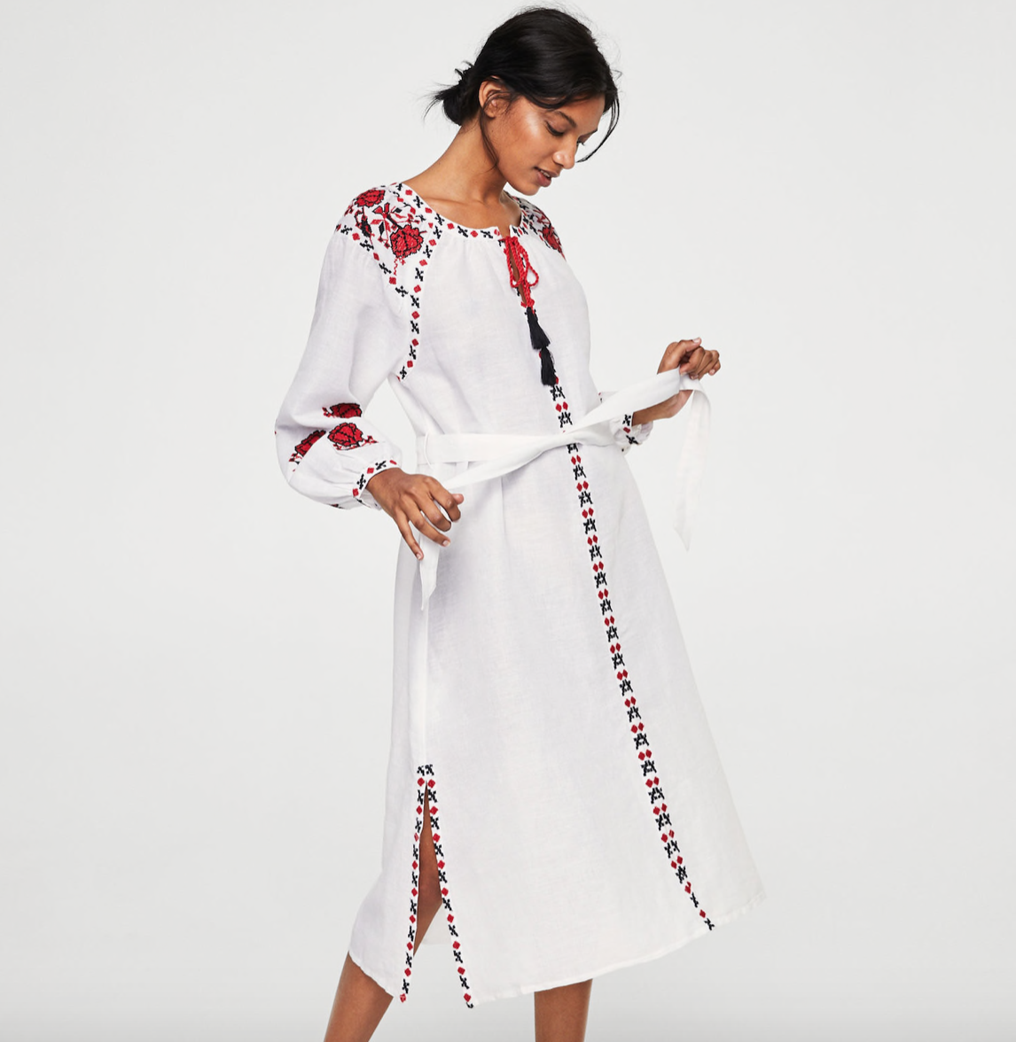 MANGO - Embroidered Linen Dress £69.99