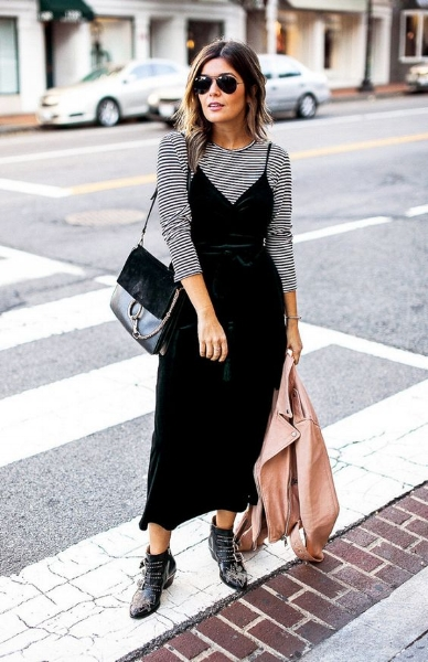 Slip dress with layered top