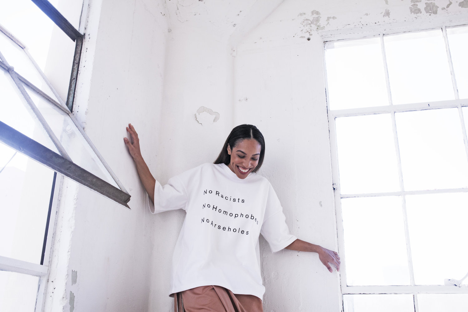 Oneself+ is a gender neutral brand devoted to creating beautiful basics, they challenge and stand for breaking boundaries, for positivity and authenticity. We celebrate and fight for diversity, equality and individuality.   No Homophobes Tee $68