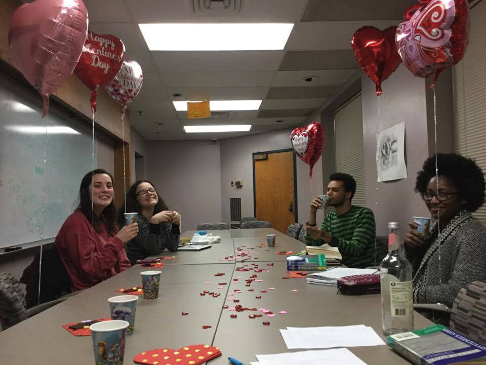 Students celebrate friendship in Forgiveness, Love, and Justice on Valentine's Day.