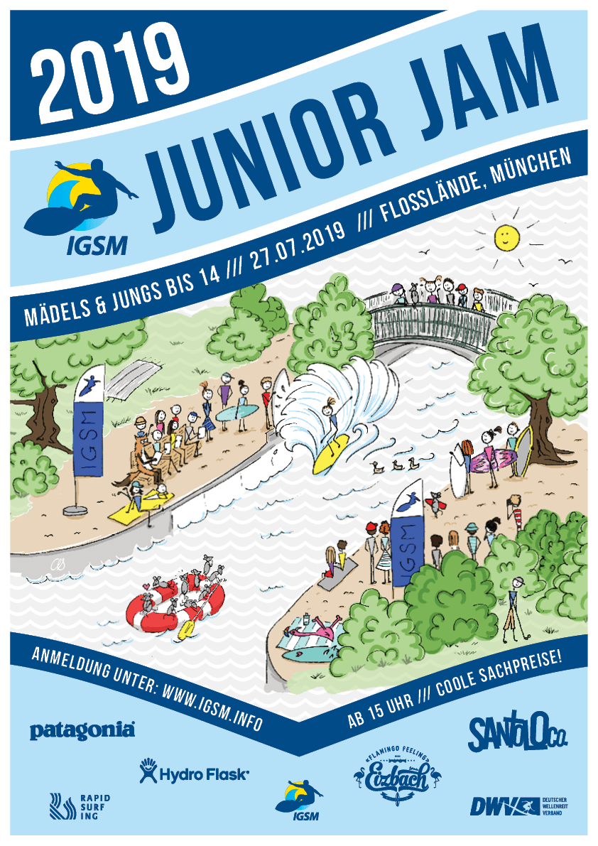 IGSM Junior Jam - July 27th 2019, Floßlände, MunichRapid Surfing Roots Event; no tour pointsFor kids until 14The birthplace of Rapid Surfing in Munich, this is where everything started in the seventies. Parents allowed!