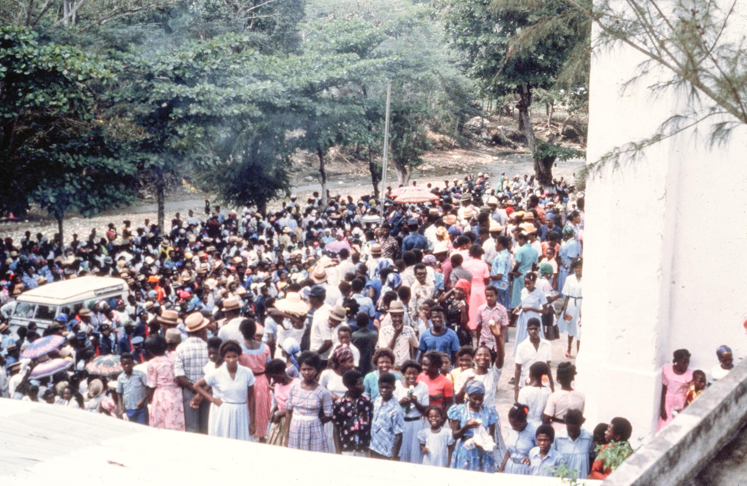 Haitians outside of church.