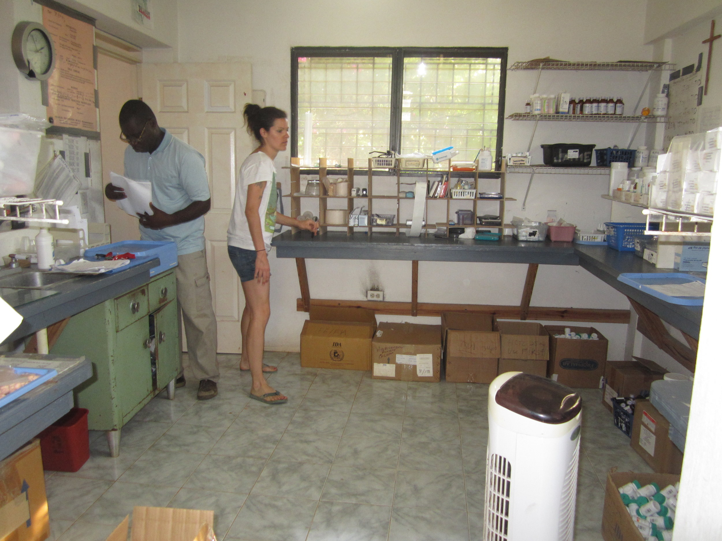 The FOTCOH pharmacy. Pictured here is FOTCOH pharmacy director, Erin Briggs, and FOTCOH pharmacy technician, Roger.