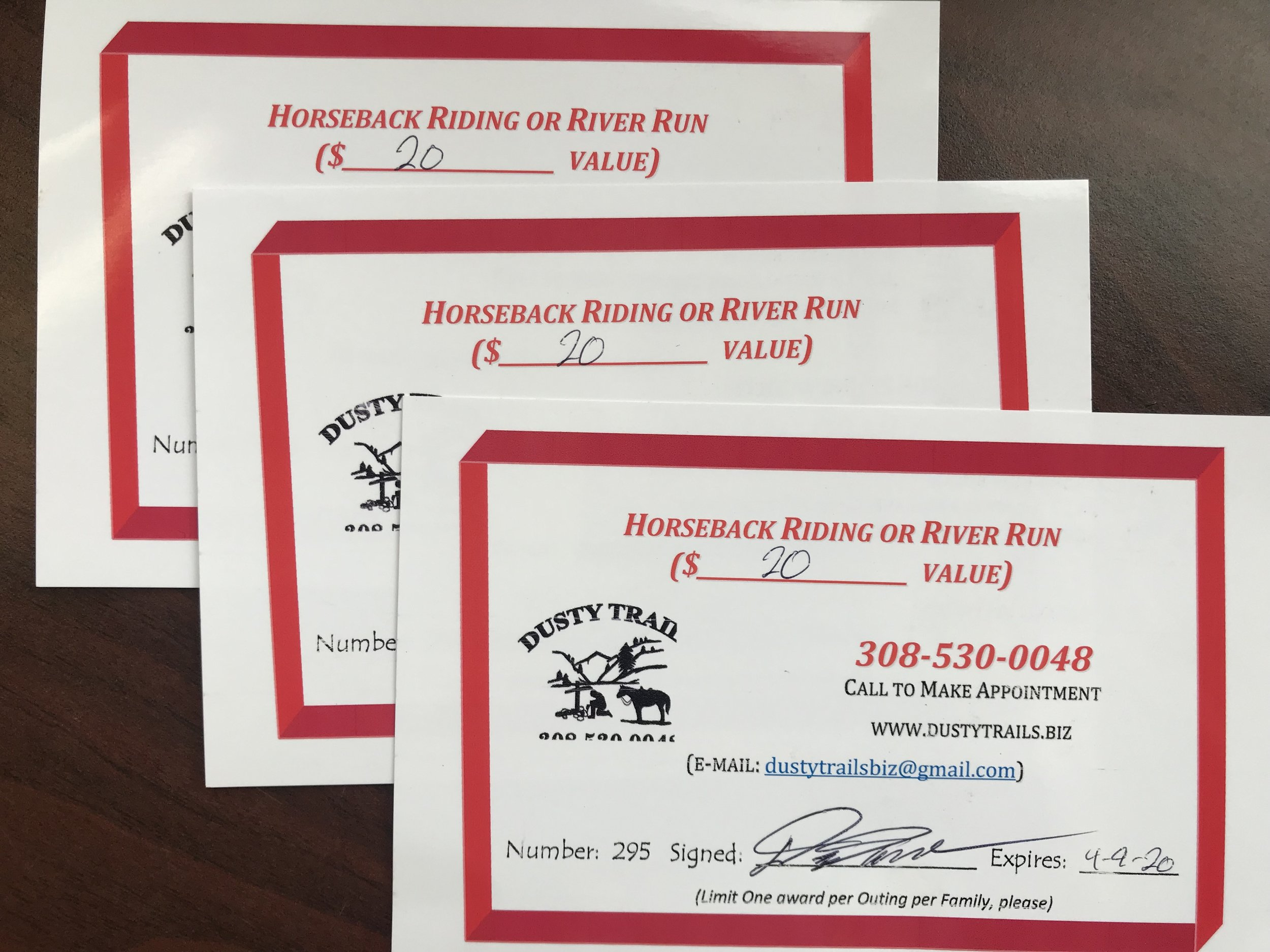 Dusty Trails Gift Cards