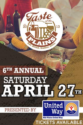 Sample food, wine, beer and whiskey from around Western Nebraska at Mid-Plains United Way's  6th Annual Taste of the Plains  at  North Platte, Nebraska's Ramada Inn  on  April 27, 2019 ! Jam out and dance to music from Big Daddy B & The Wrecking Machine while you shop, bid on silent auction items and play games. Don't forget there's  karaoke after 7 p.m.  All proceeds from the night go to benefit our partner agencies.   Tickets -  Advance: $20 (+processing fees) / At the Door: $25