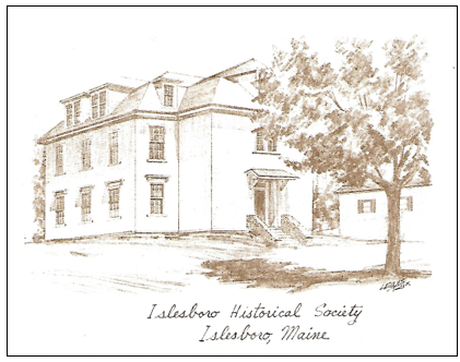 - Back of Notecard:Islesboro Historical Society(Originally Islesboro Town Hall)Built on land given by Shubael Williams (one of the first settlers on the island) in 1794. Rebuilt in 1894, used for town business and as a high school until 1953.Pack of ten notecards and envelopesPrice: $2.00Plus Maine Sales Tax $.11