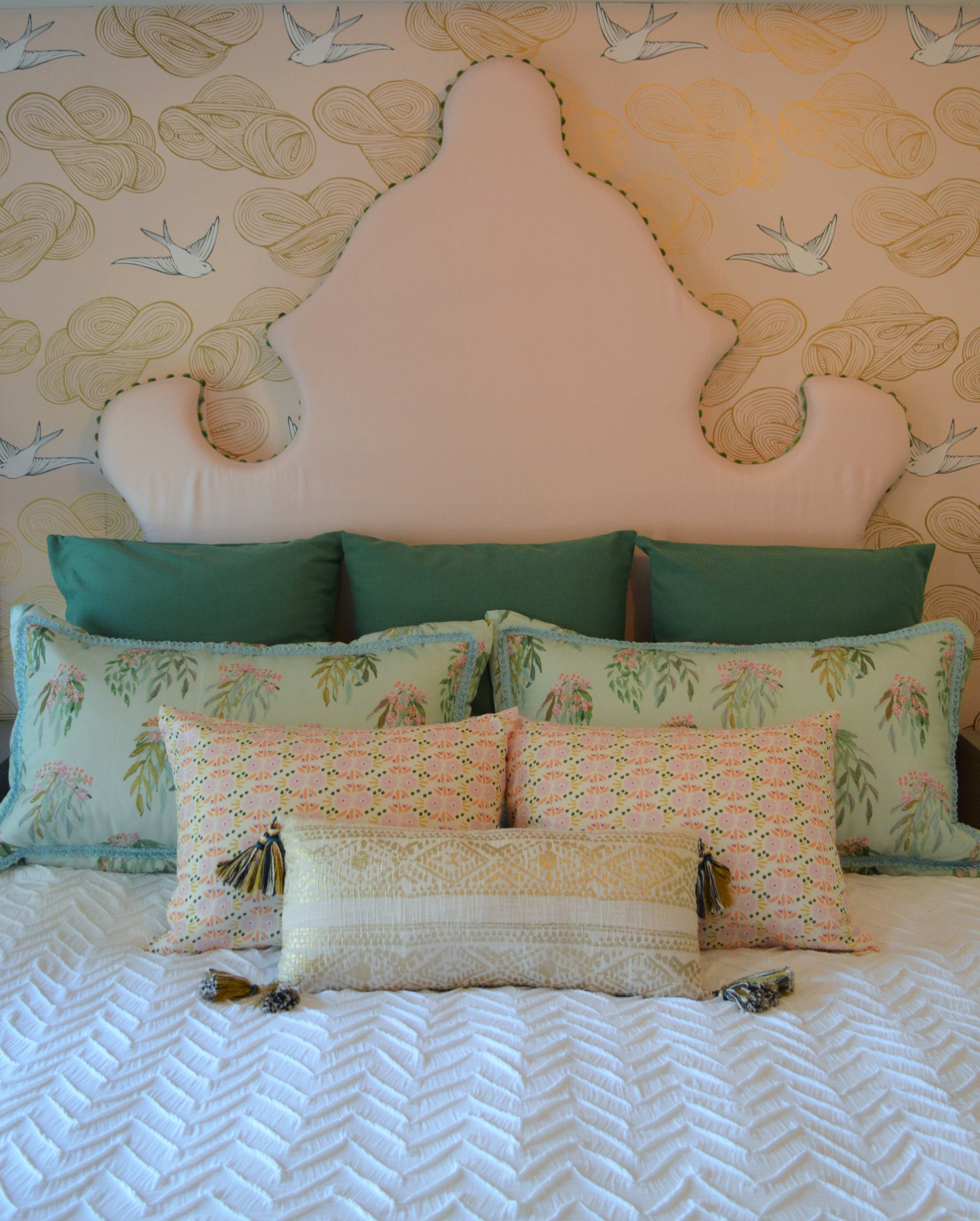 Our headboard is complemented by fabrics by Lulie Wallace