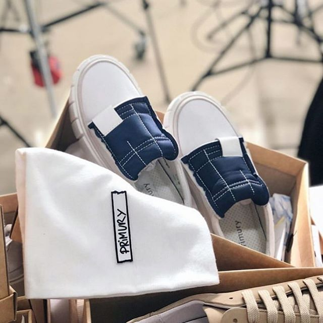 Love these. Primury Curio foam.  Made using a vintage sneaker tongue as inspiration, folding upside down to create a brand new slip on sneaker !  Also when you buy a pair of Primury, you get a really cool bag to keep your shoes protected.