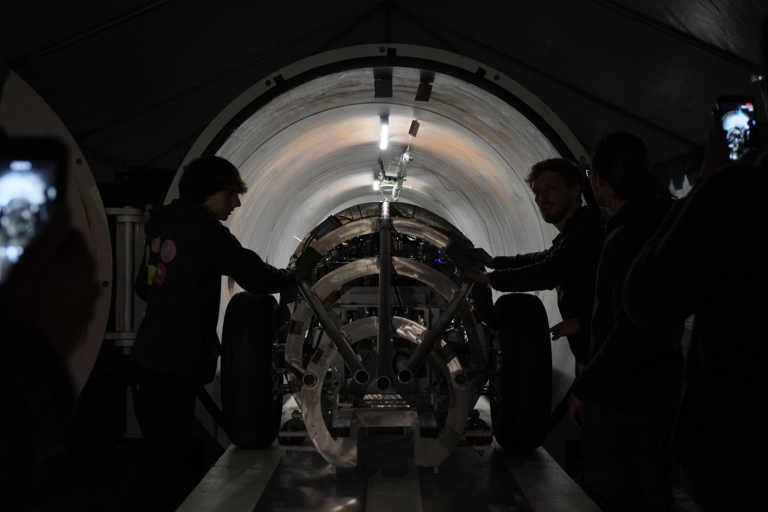 University of florida's gatorloop pod while entering the spacex vacuum chamber for additional tests