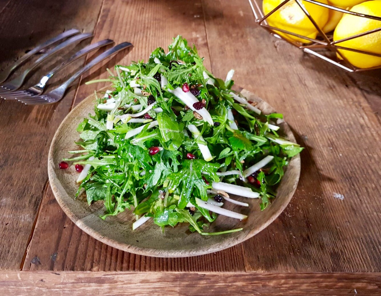 POPPED WILD RICE, PEAR & BABY KALE SALAD
