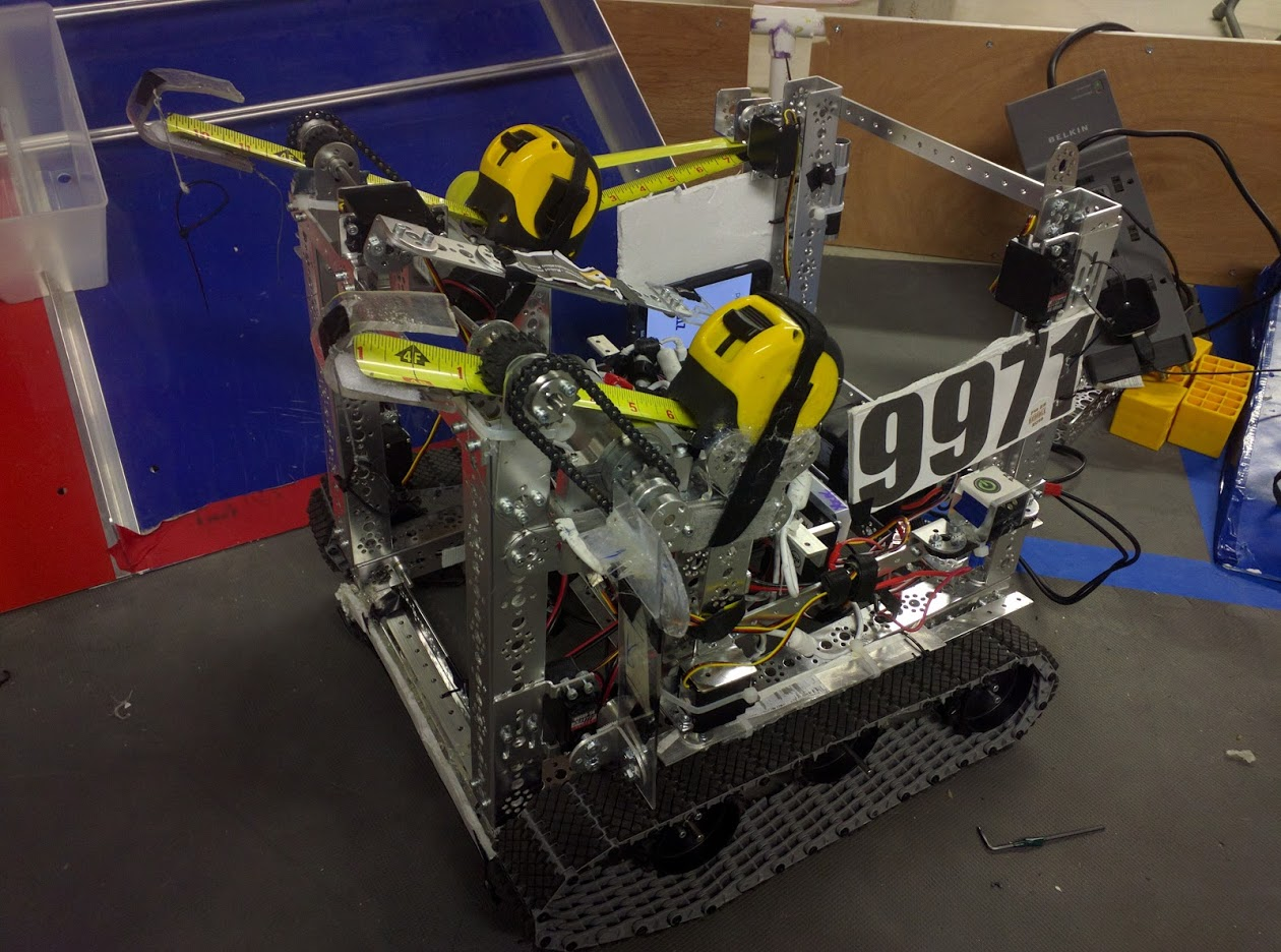 """Dream is the first actual FTC bot we've ever built. We named it Dream because we were rookies at the time and we felt we didn't fully know what we were doing so we joked that it would run off of our """"dream""""that it would work. When we were first designing Dream, we had a completely different idea of what it would be compared to what it is now. Originally we were going to climb up to the high zone and drop debris but our design didn't work out too well and we ended up in last at our first two tournaments. After those first two tournaments we pivoted our design to hang using tape measures. With the tape measure design we were able to get winning alliance captain twice and qualified for states. At states we made it to the semi-finals but didn't advance to the East Super Regionals. Dream was a good start for our rookie year and we learned a lot when designing and building it which will allow us to make even better robots for the upcoming seasons."""