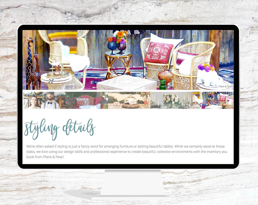 PLANK & PEARL - website design