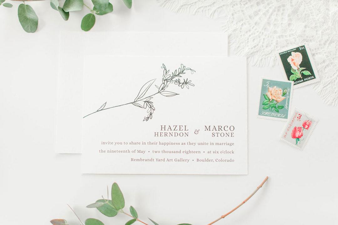 Chic Modern Boho Black + White Wedding Invite by LBC Design Co