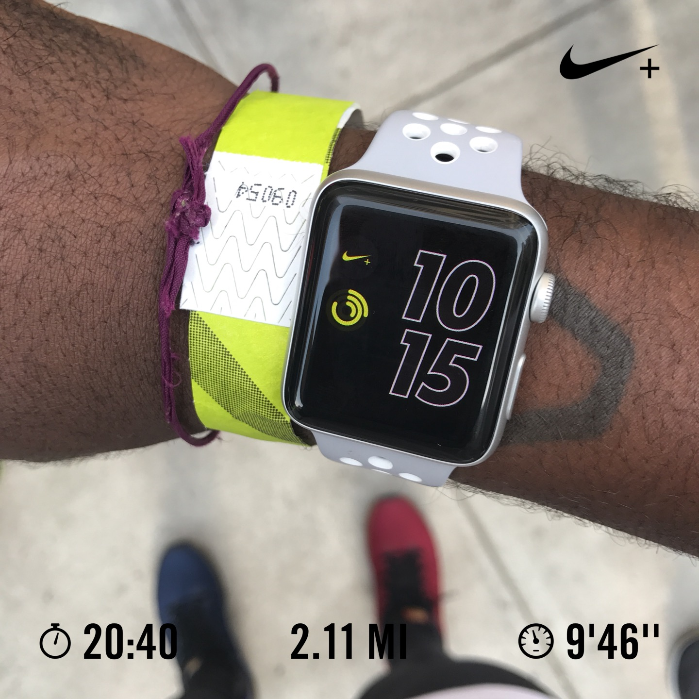 Checking my new Apple Watch Nike+ after the 2 mile run. #NYMade
