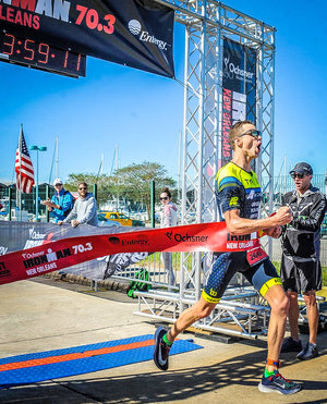Crossing the line 1st at IM70.3 New Orleans