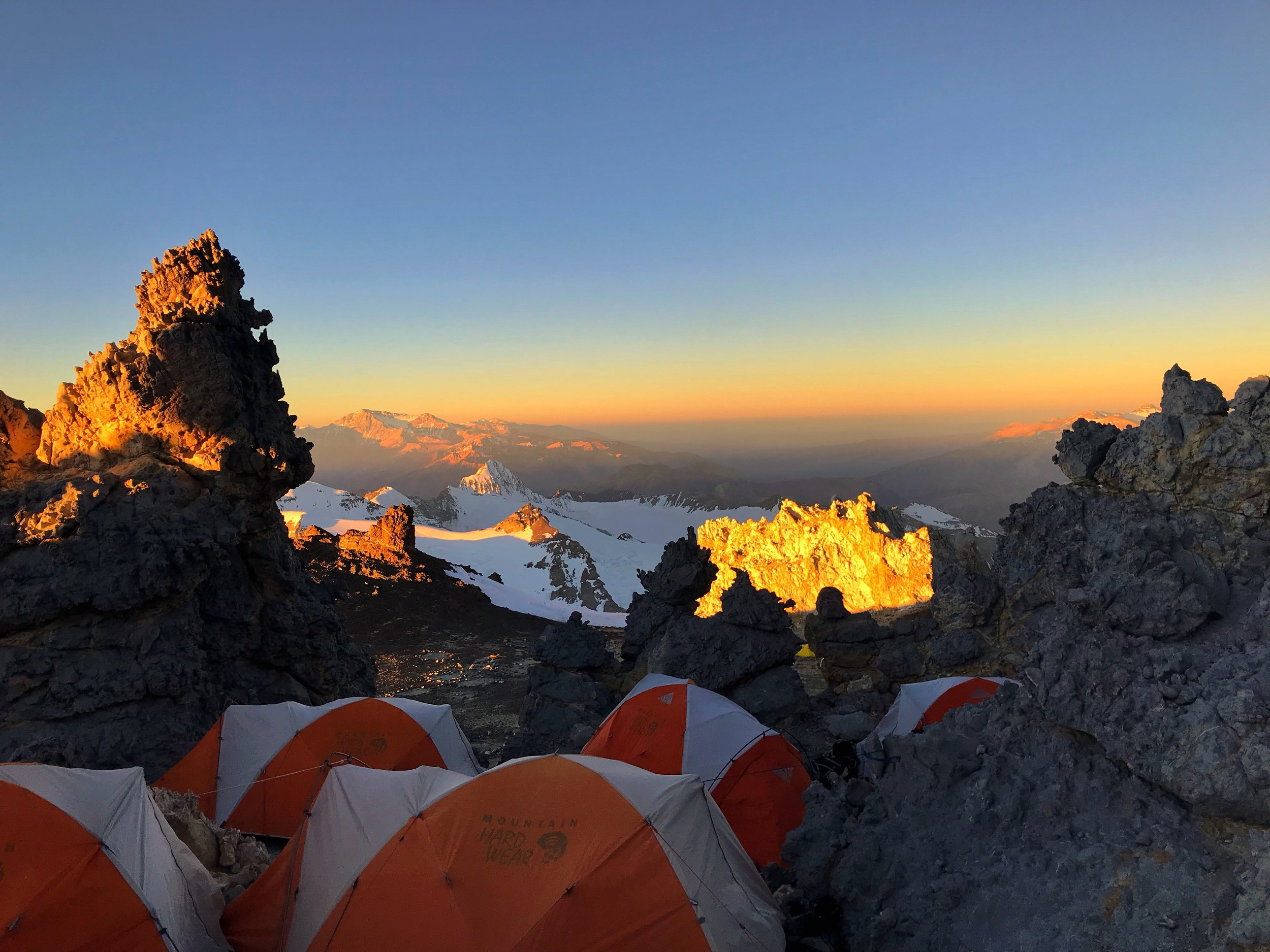 At camp before waiting to attack the summit