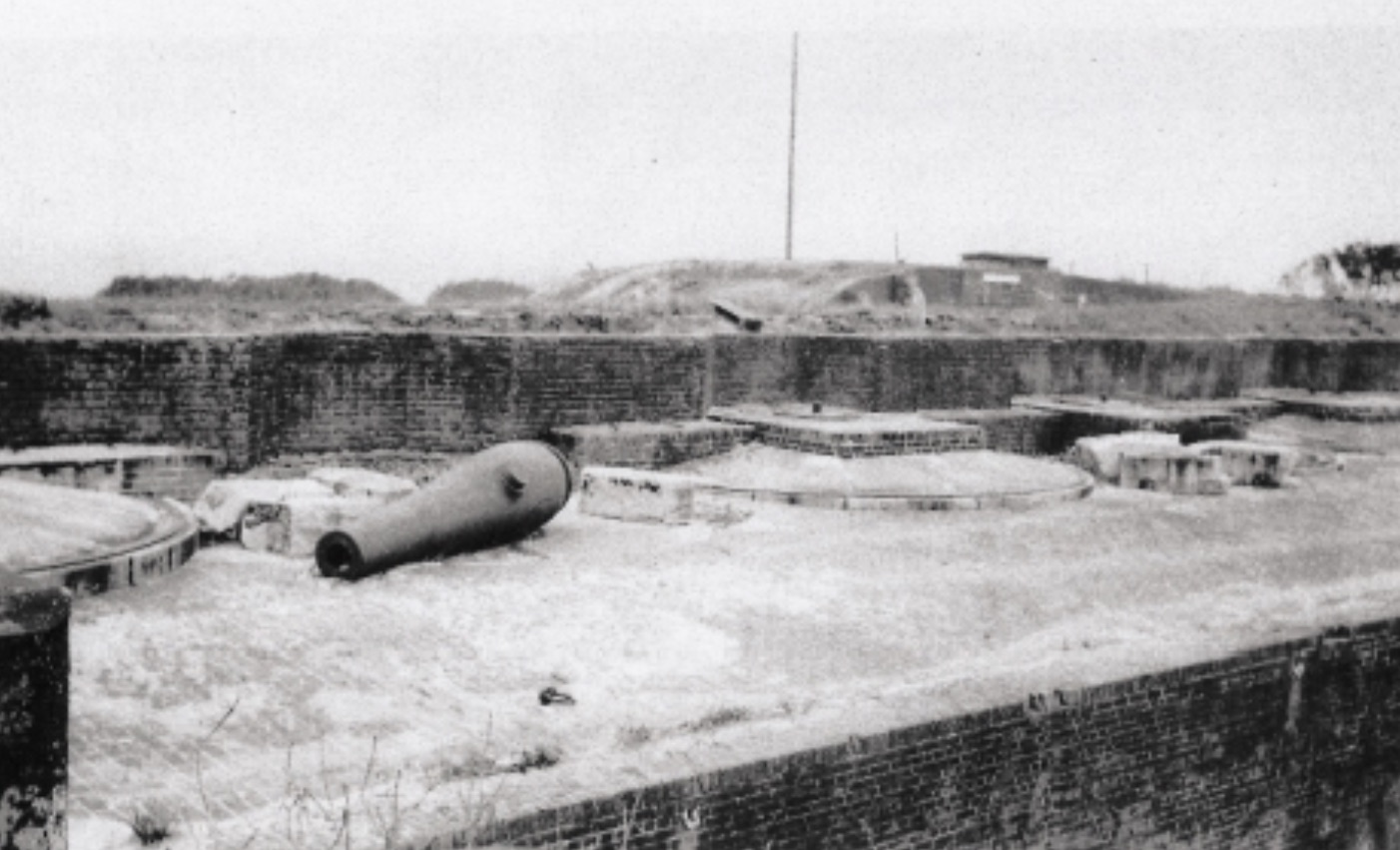 One of the six 10-inche Seacoast Columbiad at Fort Morgan given to cities for memorials in the early 1900's
