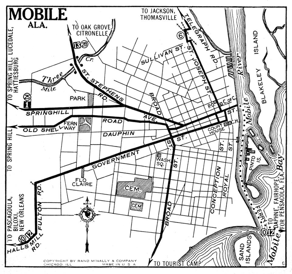 Mobile in 1925, streetcar system shown