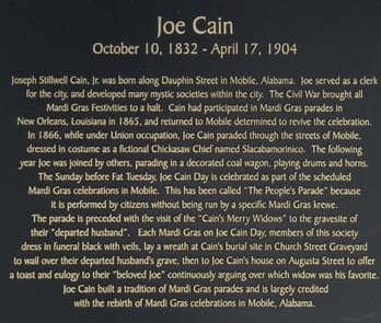 Plaque reading at the Joe Cain Cafe in Downtown Mobile