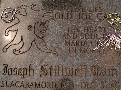 Joe Cain's grave at Church Street Graveyard in Downtown Mobile