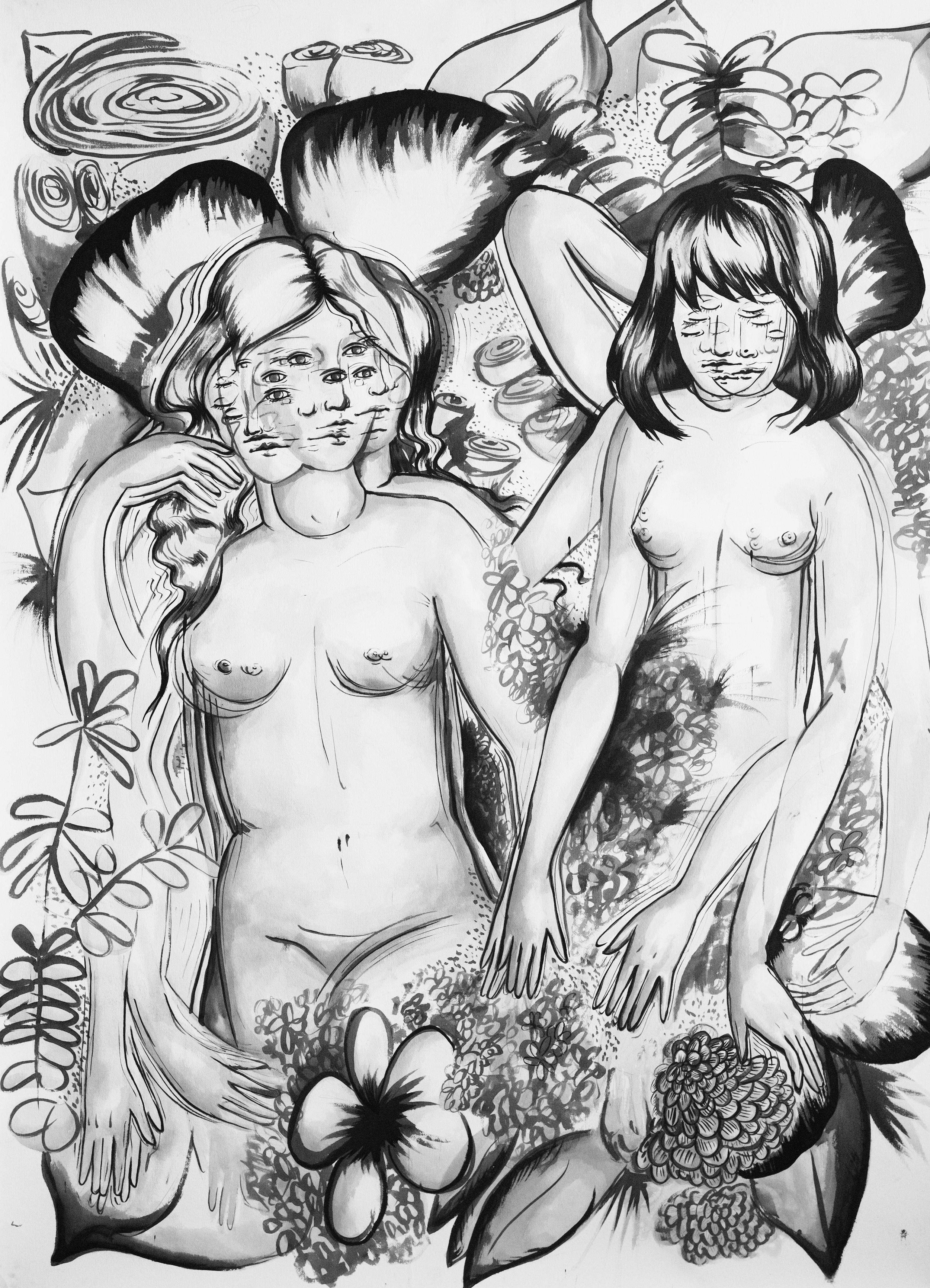 """Two Sibyls , Ink on Paper, 72"""" x 52.5"""", 2017"""