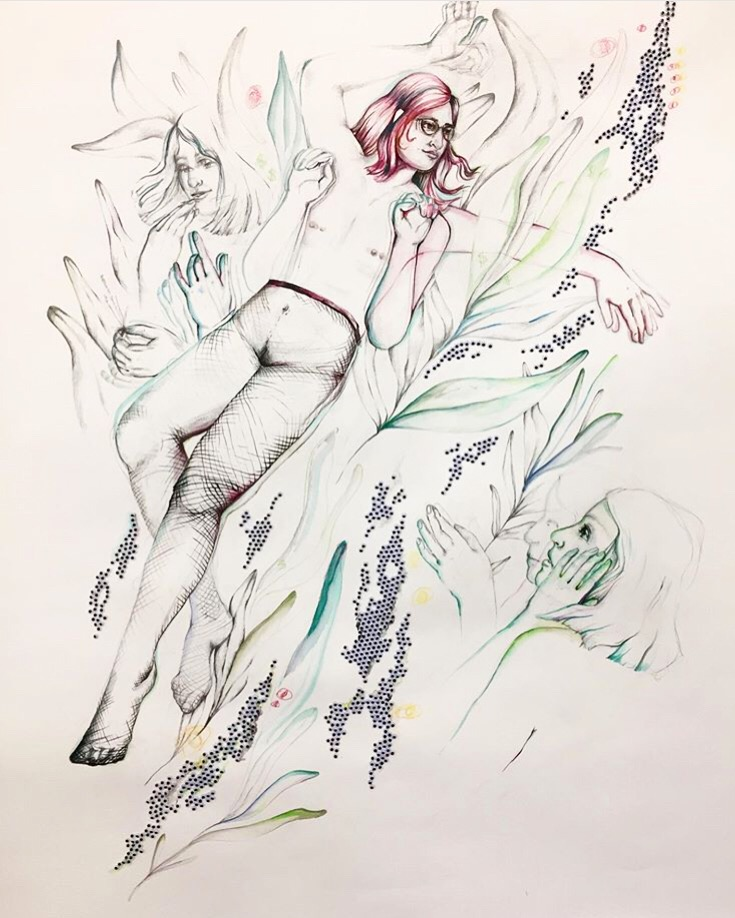 "Sage,  72.5"" x 52"", mixed media on paper, 2018"