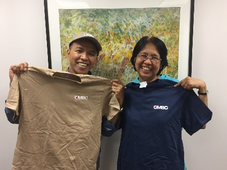 "Romy and Linda Caringal   were pleased to receive their OMSC spirit wear on a recent visit to campus. They ""dropped in"" for a visit prior to a trip to their mission head-quarters in North Carolina. Read their heartwarming alumni story on the OMSC website under   Our Global Impact  ."