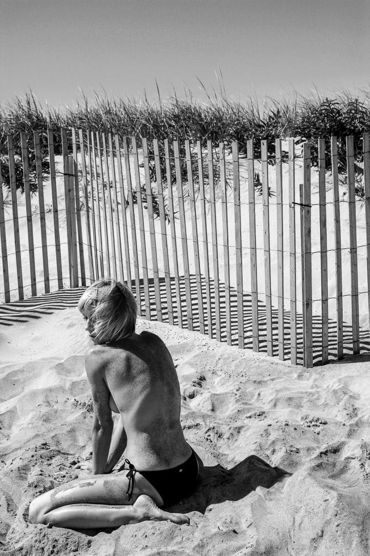 Girl on beach in the Hamptons