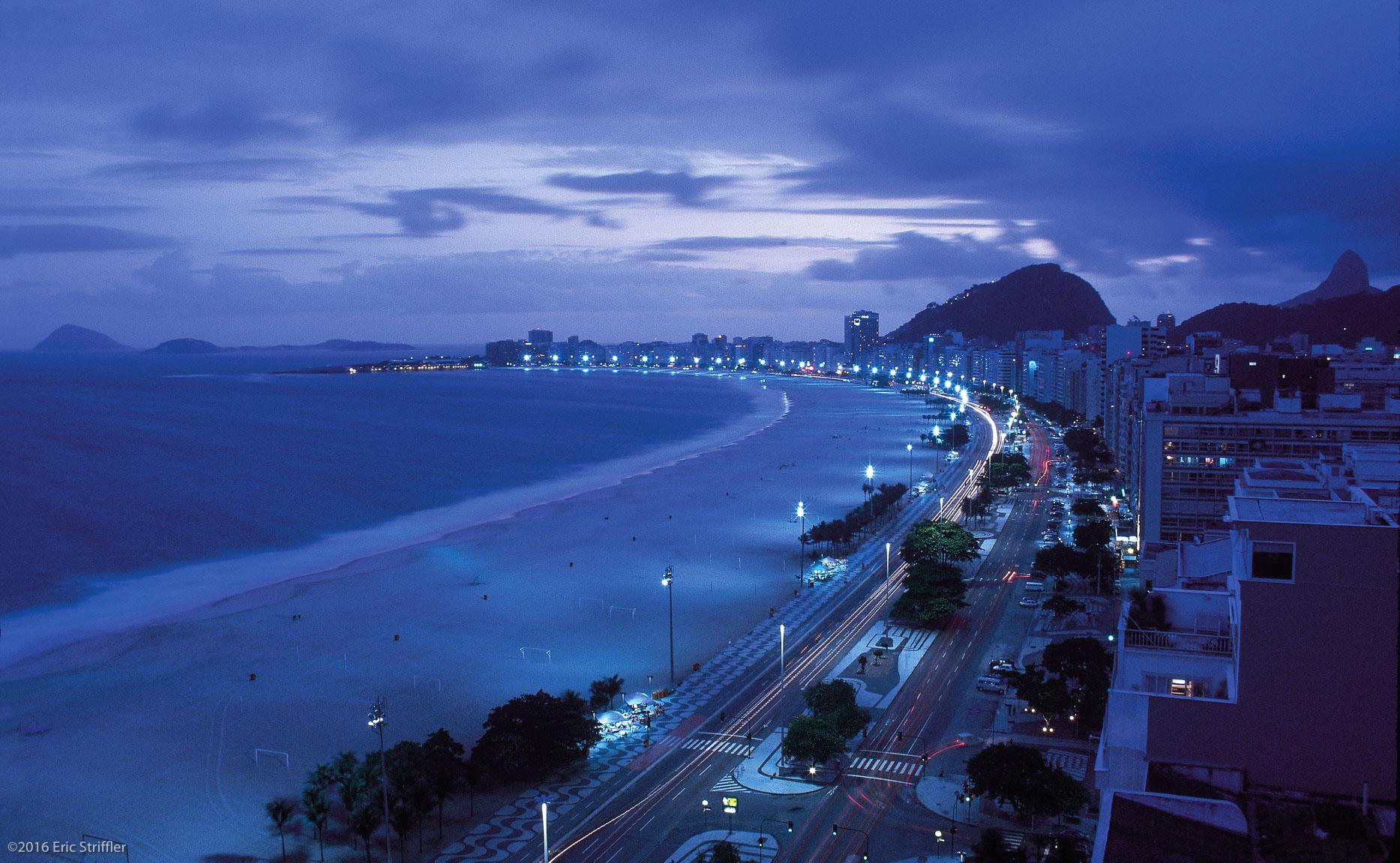 Copacabana Beach at night, Rio