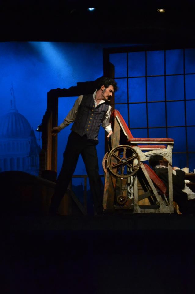 Woodrow as Sweeney Todd in Skidmore College's Spring 2013 main stage production. Photo courtesy of the Skidmore theater department.