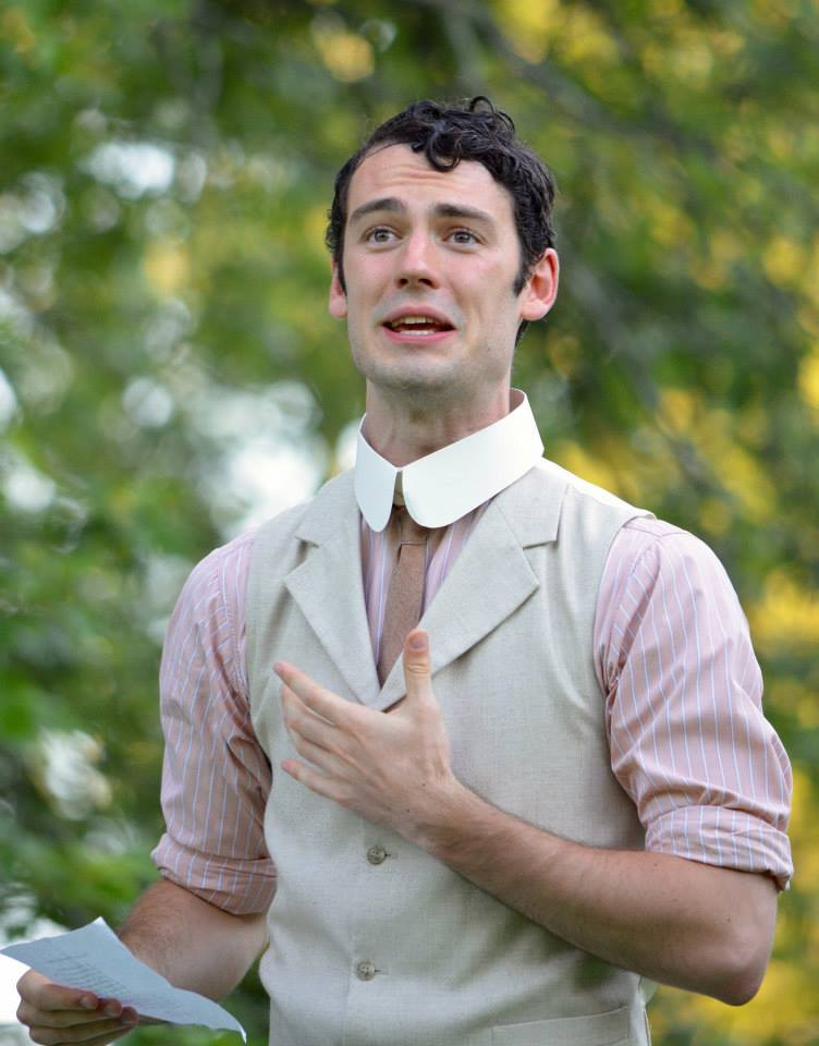 Woodrow as Dumain in the Saratoga Shakespeare production of Love's Labour's Lost in the summer of 2015. This photo belongs to the Saratoga Shakespeare Company.