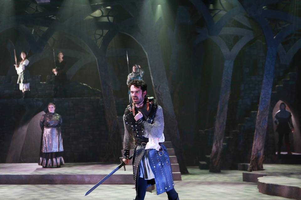 Woodrow as Macbeth in Skidmore College's fall 2015 main stage. Photo taken by Sue Kessler, courtesy of the Skidmore theater department.