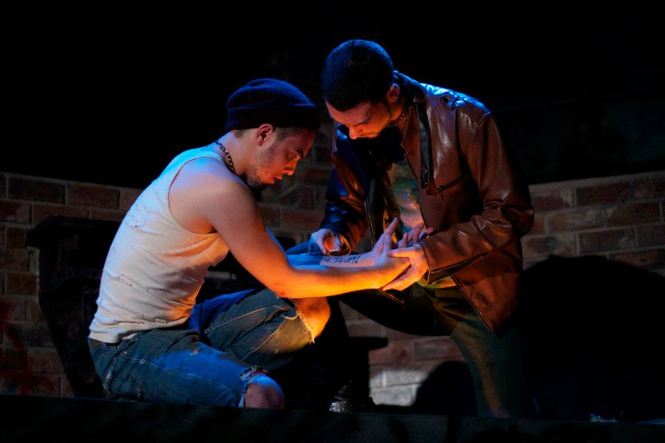 Woodrow as D (right side) in Skidmore College's Fall 2013 production of Polaroid Stories by Naomi Izuka. (Also pictured: Conor Gleason) Photo courtesy of the Skidmore theater department.