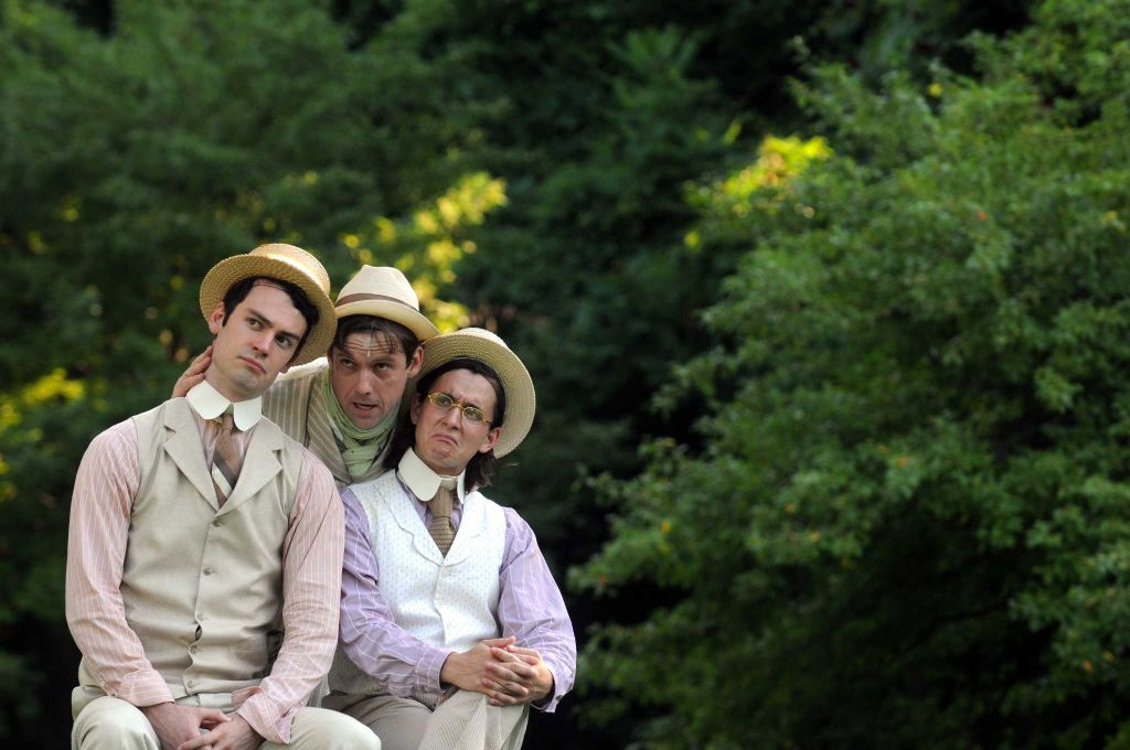 Woodrow as Dumain in the Saratoga Shakespeare production of Love's Labour's Lost in the summer of 2015. (From left to right: Woodrow Proctor, Vince Tyler, Ethan Botwick). This photo belongs to the Saratoga Shakespeare Company.