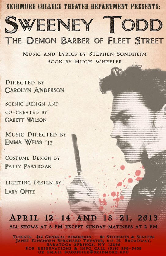 The poster for Skidmore's production of Sweeney Todd: The Demon Barber of Fleet Street