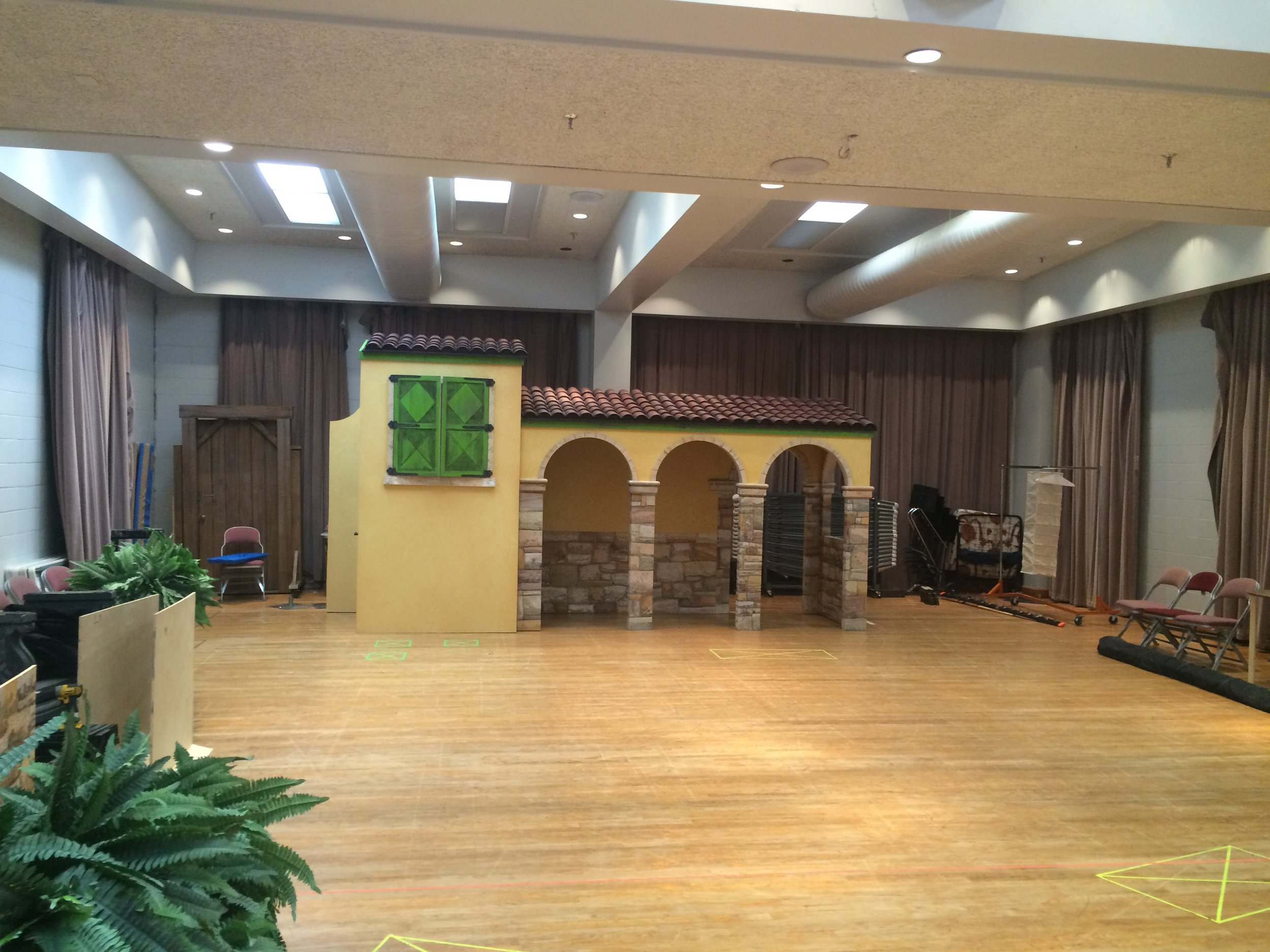 The cast's first day dismantling and rebuilding our portable tour set.