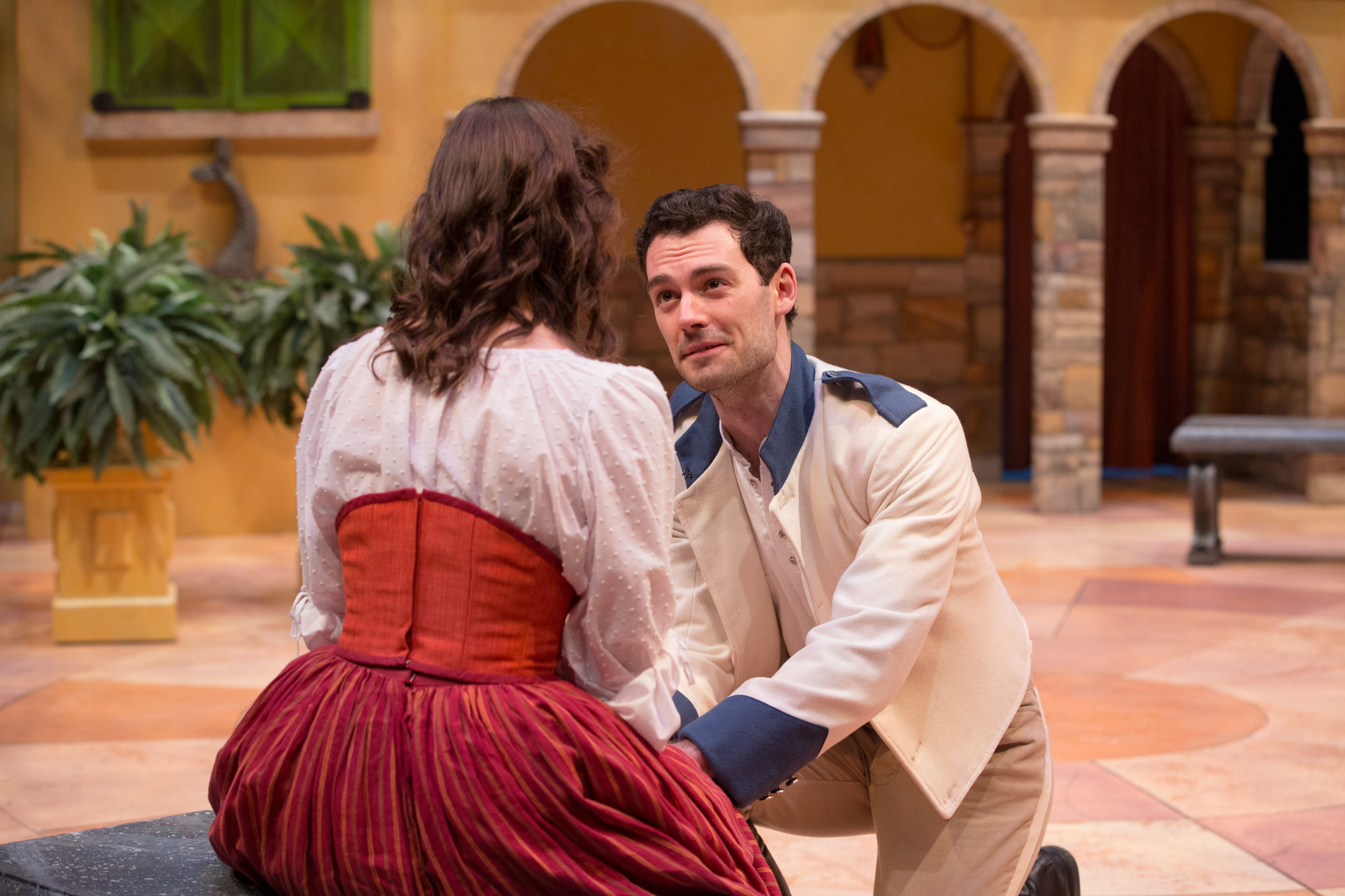 Woodrow as Benedick and Katie Fanning as Beatrice in Alabama Shakespeare Festival's 2017 production of Much Ado About Nothing.