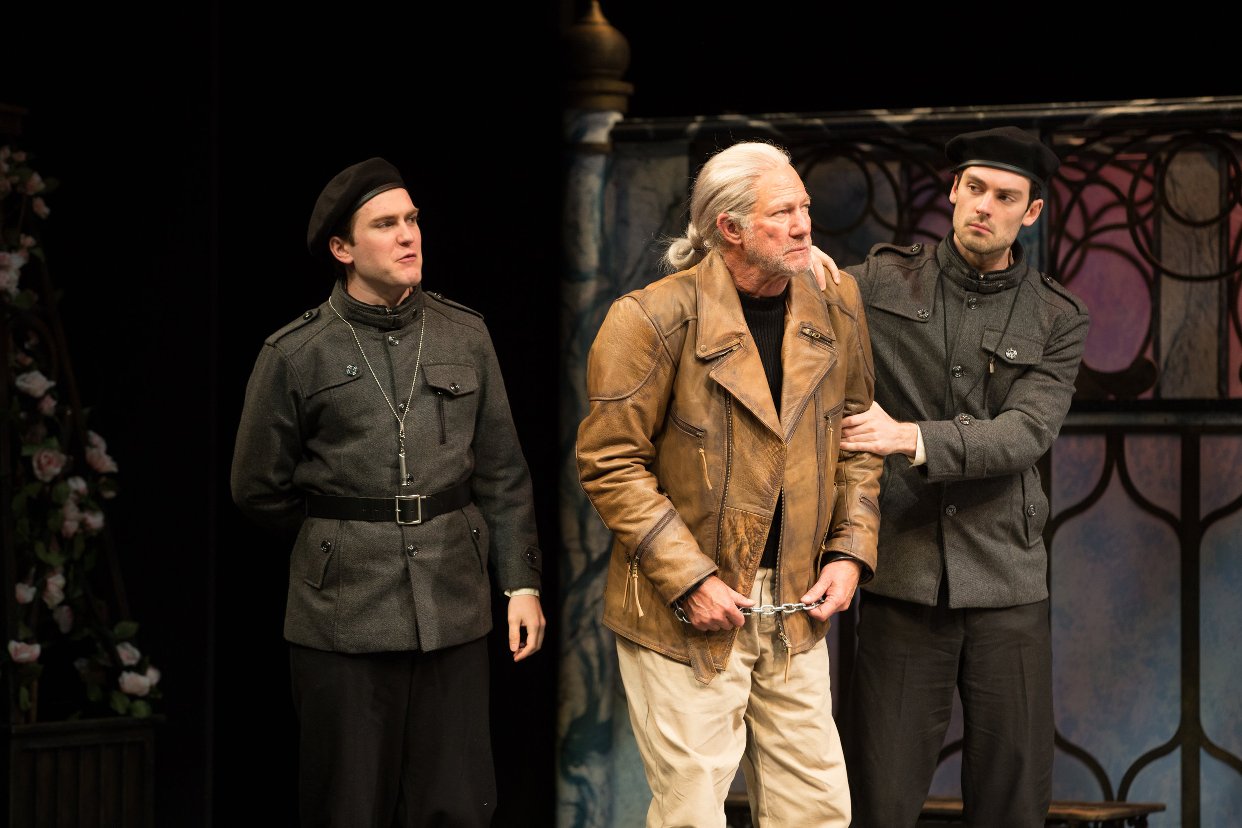 Brian Ott, Rodney Clarke and Woodrow Proctor in order. Antonio flanked by the two officers in ASF's 2018 production of Twelfth Night directed by Greta Lambert.