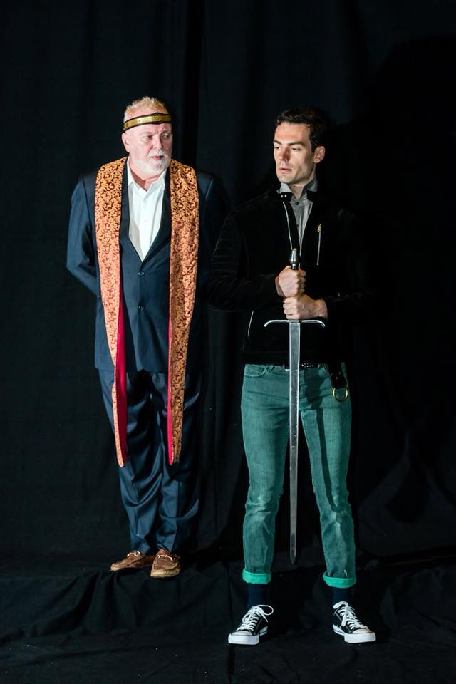 Woodrow as Prince Hal in a promotional photoshoot for Saratoga Shakespeare's 2018 production of Henry IV (1+2). Also pictured: Kevin McGuire