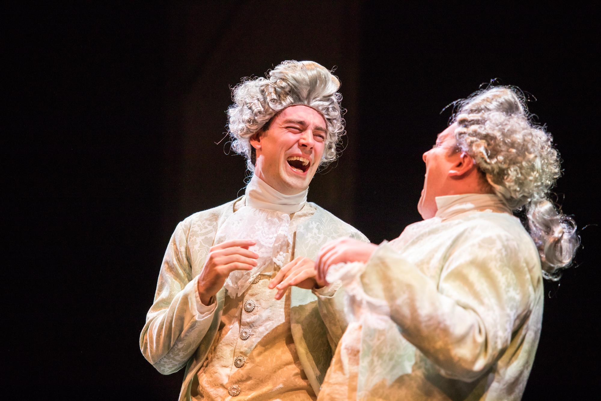 Woodrow and Brian Owen as Venticelli 1 and Venticalli 2 in a dress rehearsal photo from the Arts Center of Coastal Carolina's 2018 production of Amadeus.