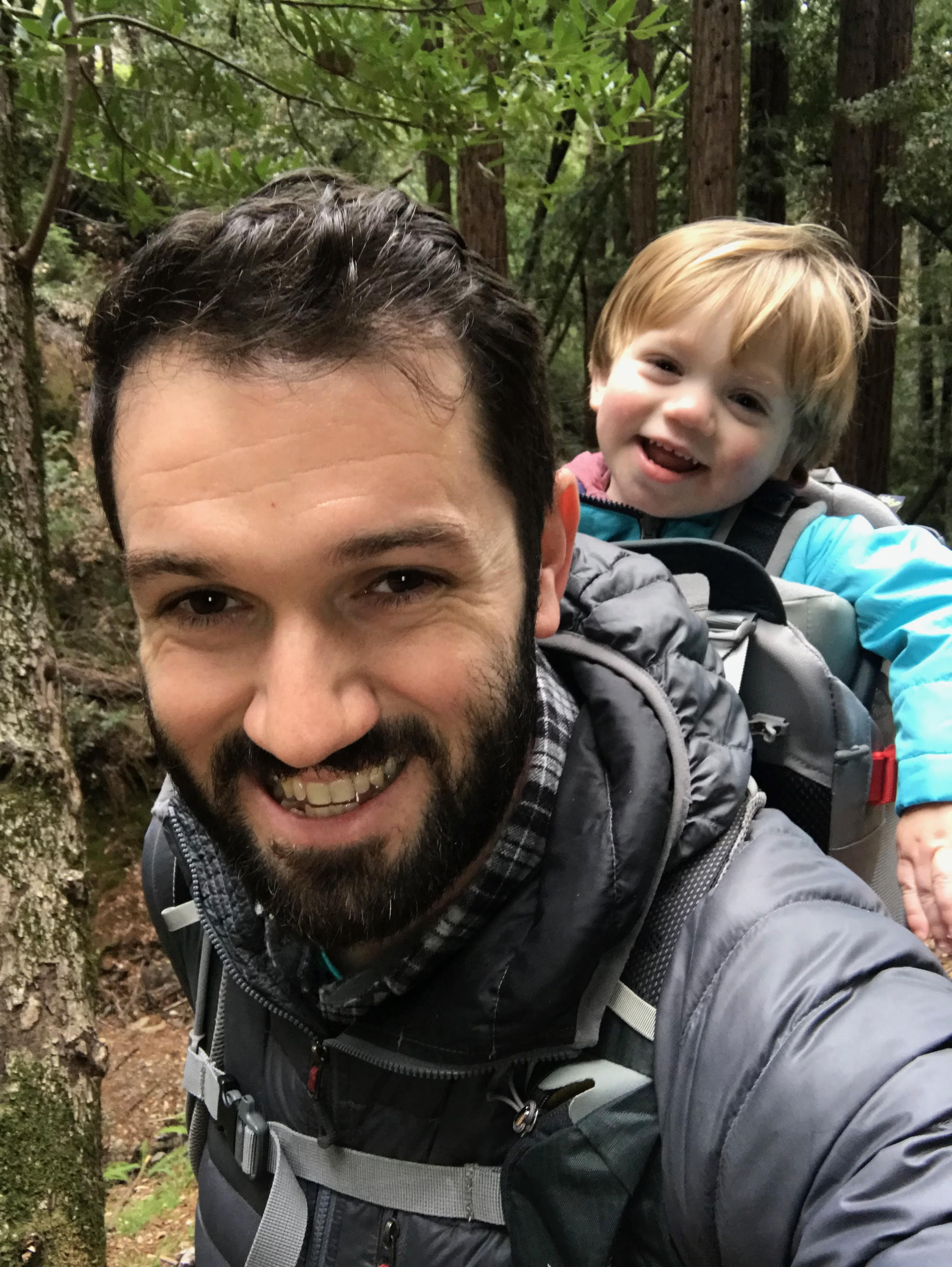 DJ going on a hike with his son, Maguire.