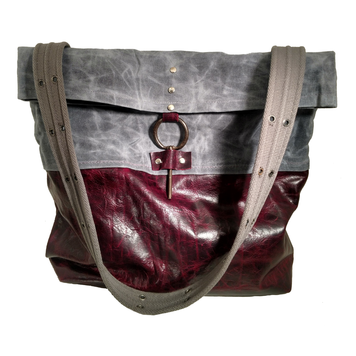 Grumpy Bags Grey Waxed Canvas Merlot Leather Vintage Pull Large.png