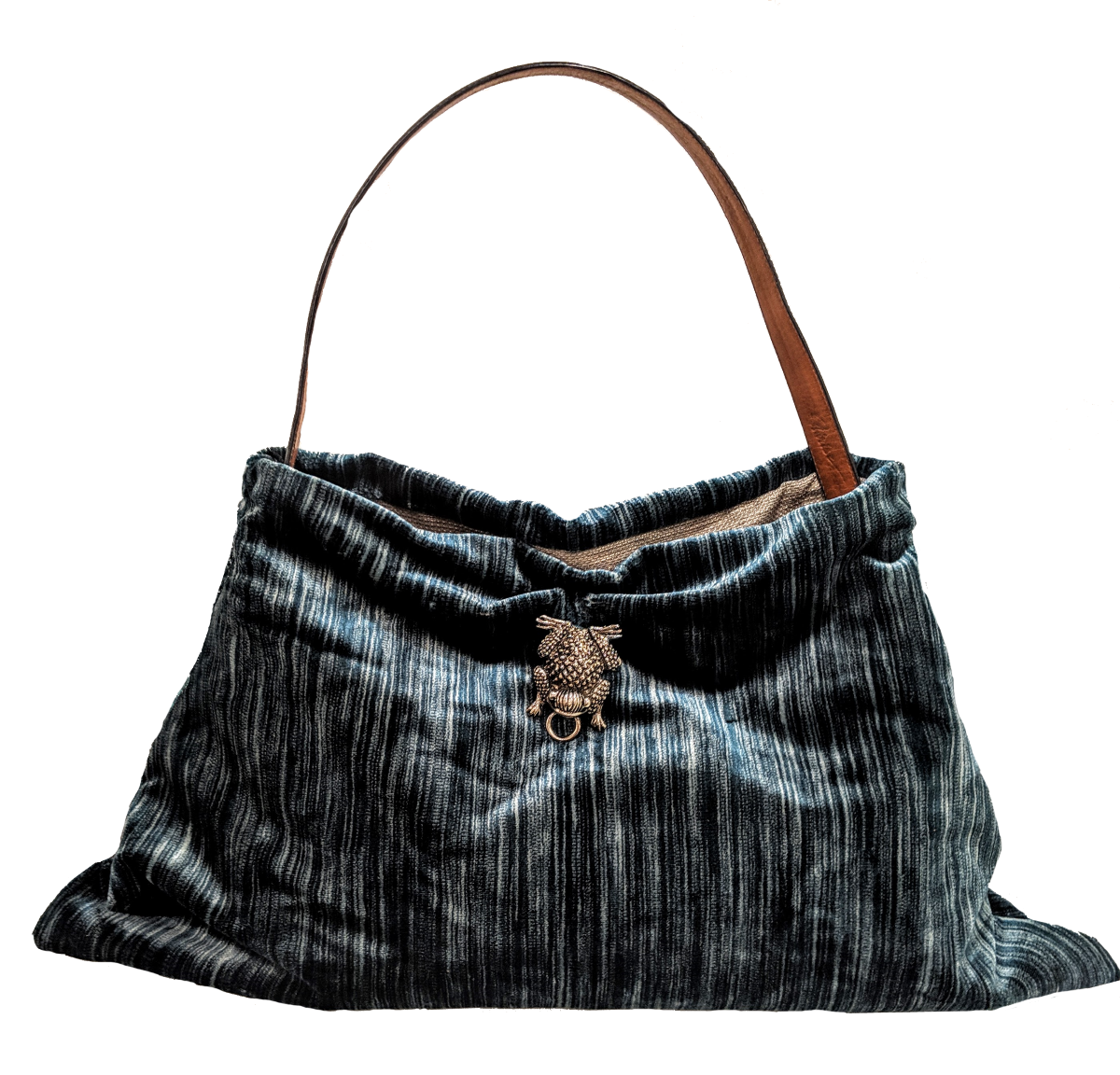Grumpy Bags Striped Silk Velvet Evening Silver Frog Large.png