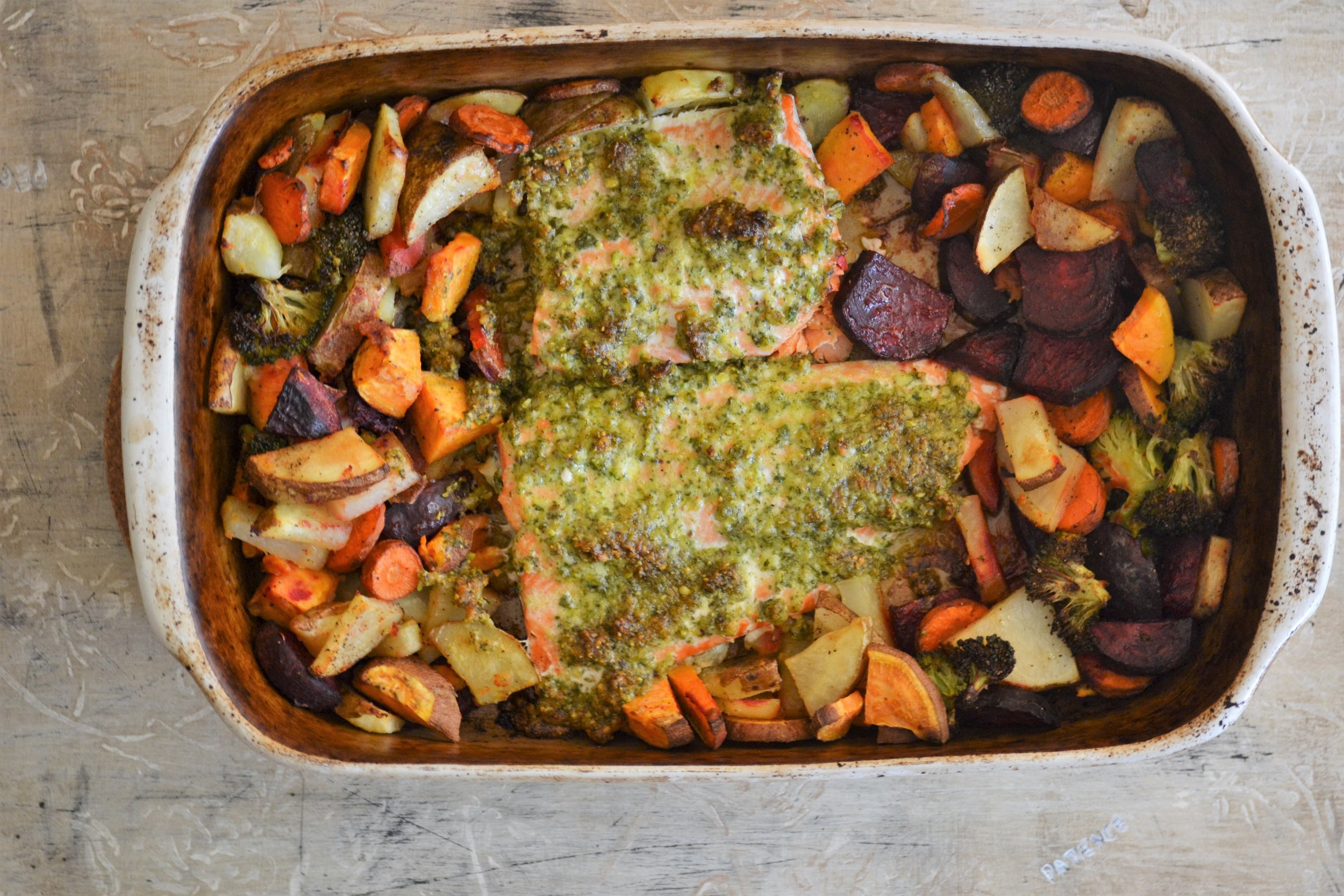 Baked Salmon with Root Vegetables & Sage Pesto -