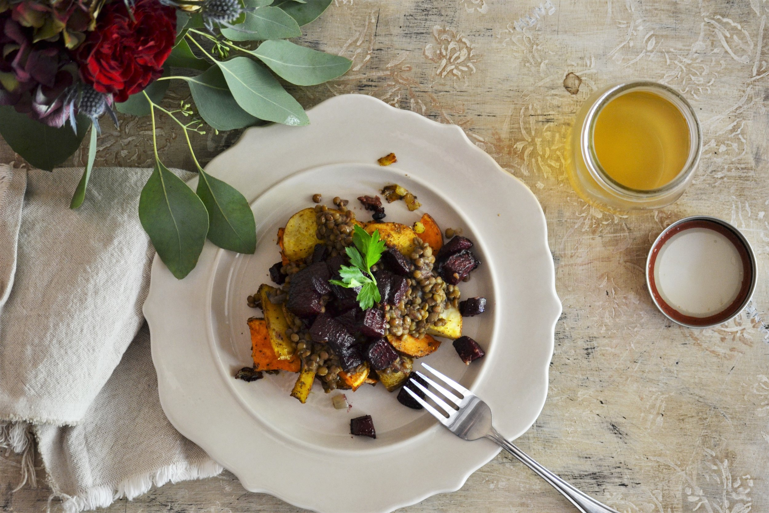 Roasted Potatoes & Beets with Lentils -