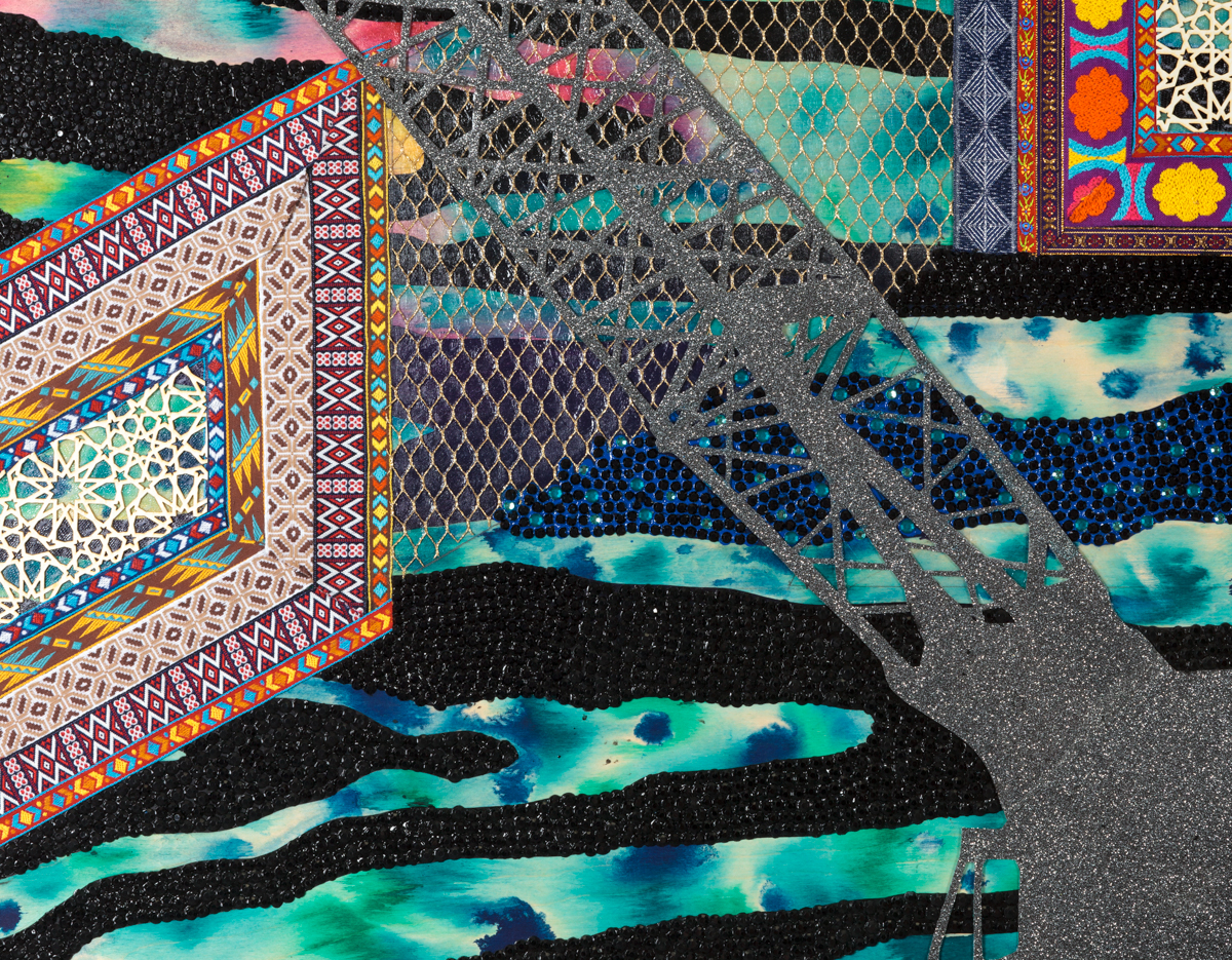 "Visual Heteroglossia: Excavation of the Gentry (Detail), 2016 Jacquard textiles, laser cut Arches watercolor paper, vinyl, jewels, concentrated watercolor and acrylic on wood panel  Photo credit: Jeanette May 40"" x 60"" x 2"""