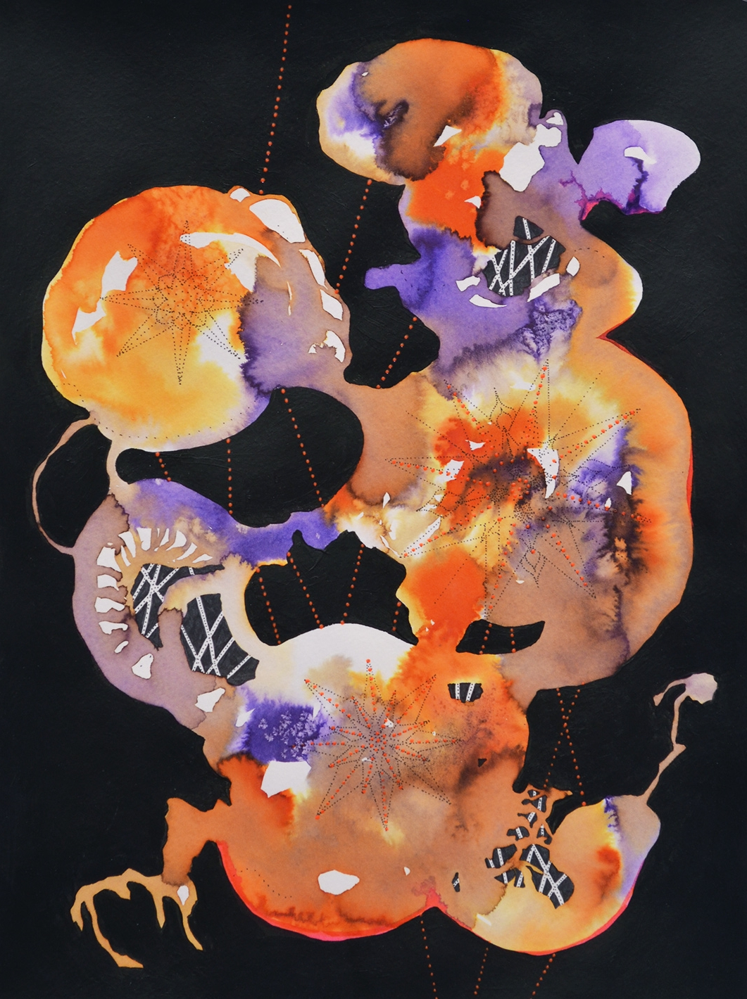 """Binary Fission, I,2014 Concentrated watercolors, acrylic paint, and ink on paper 15"""" x 11"""""""