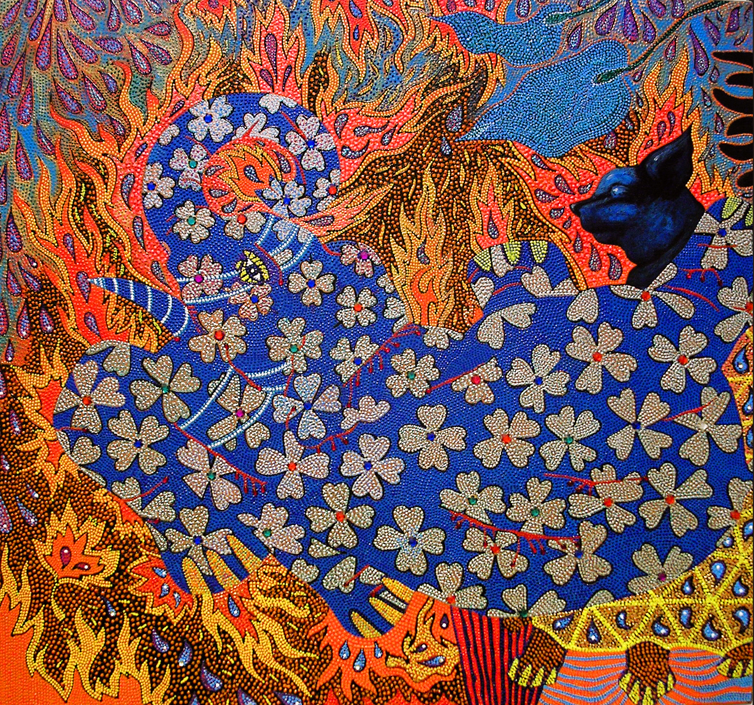"""Blue Elephant Inferno,2005 Oil, acrylic and jewels on canvas 30"""" x 28"""" Featured in the  Queens Biennial 2006: """"Everything All At Once """" catalog"""